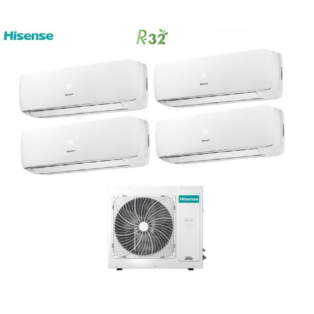 Climatizzatore Condizionatore Hisense Quadri Split Inverter R-32 Mini Apple Pie 9000+9000+9000+12000 con 4AMW81U4RAA 9+9+9+12