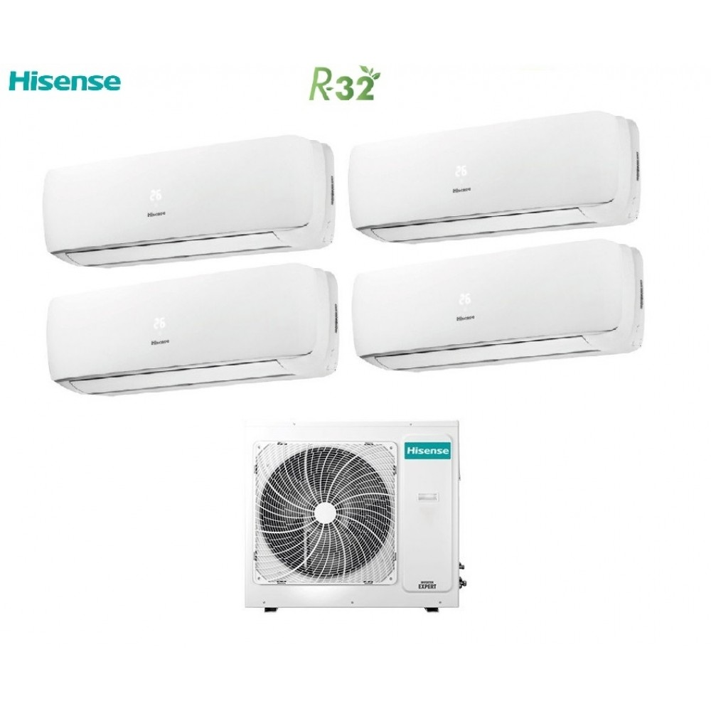 Climatizzatore Condizionatore Hisense Quadri Split Inverter R-32 Mini Apple Pie 9000+9000+9000+9000 con 4AMW81U4RAA 9+9+9+9