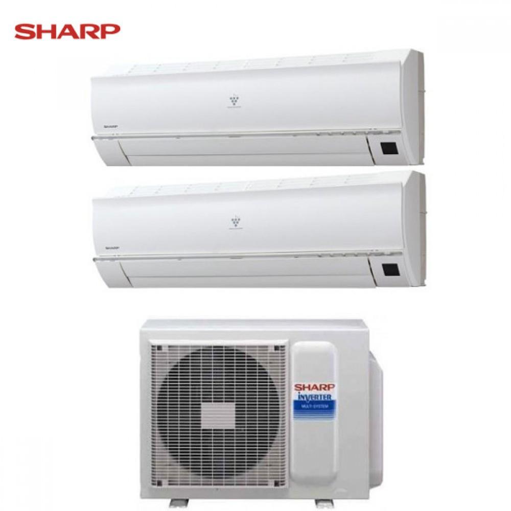 CLIMATIZZATORE CONDIZIONATORE SHARP DUAL SPLIT INVERTER Serie JR 7000+12000 con AE-X2M18KR 7+12