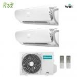 Climatizzatore Condizionatore Hisense Dual Split Inverter Silentium R-32 9000+12000 R-32 WI-FI con 2AMW42UARRA 9+12 A++ Wi-Fi NEW