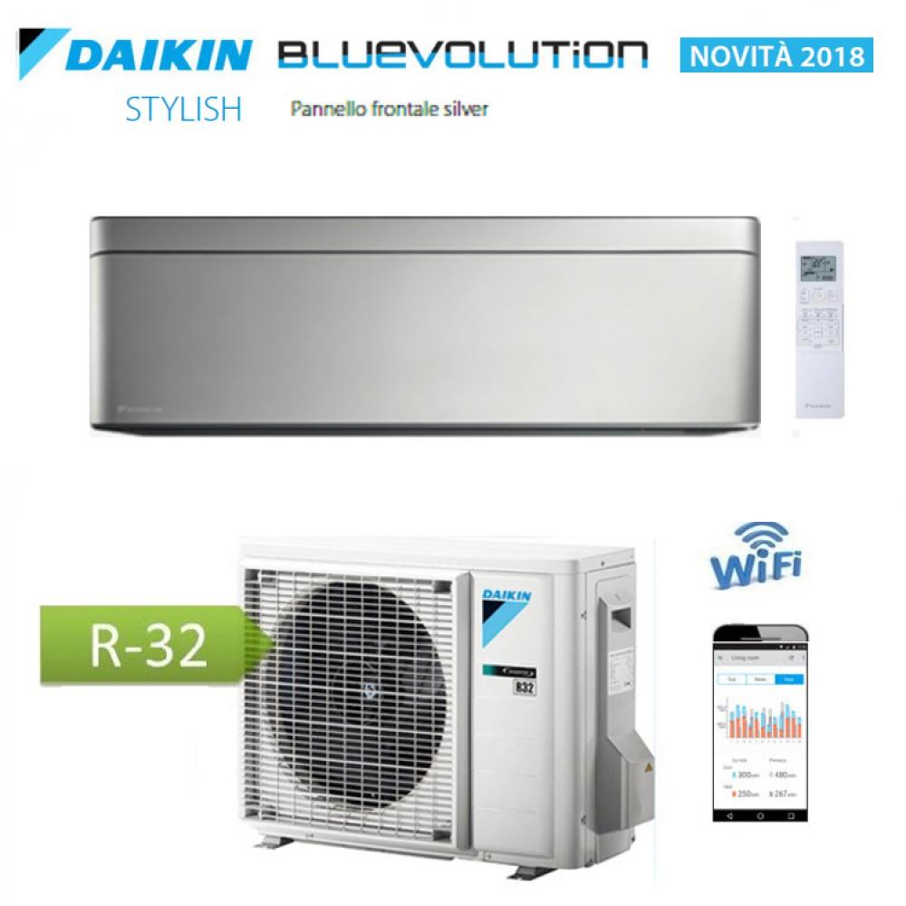 CLIMATIZZATORE CONDIZIONATORE DAIKIN Bluevolution INVERTER STYLISH SILVER 18000 btu Wi-Fi A++ R-32 FTXA50AS