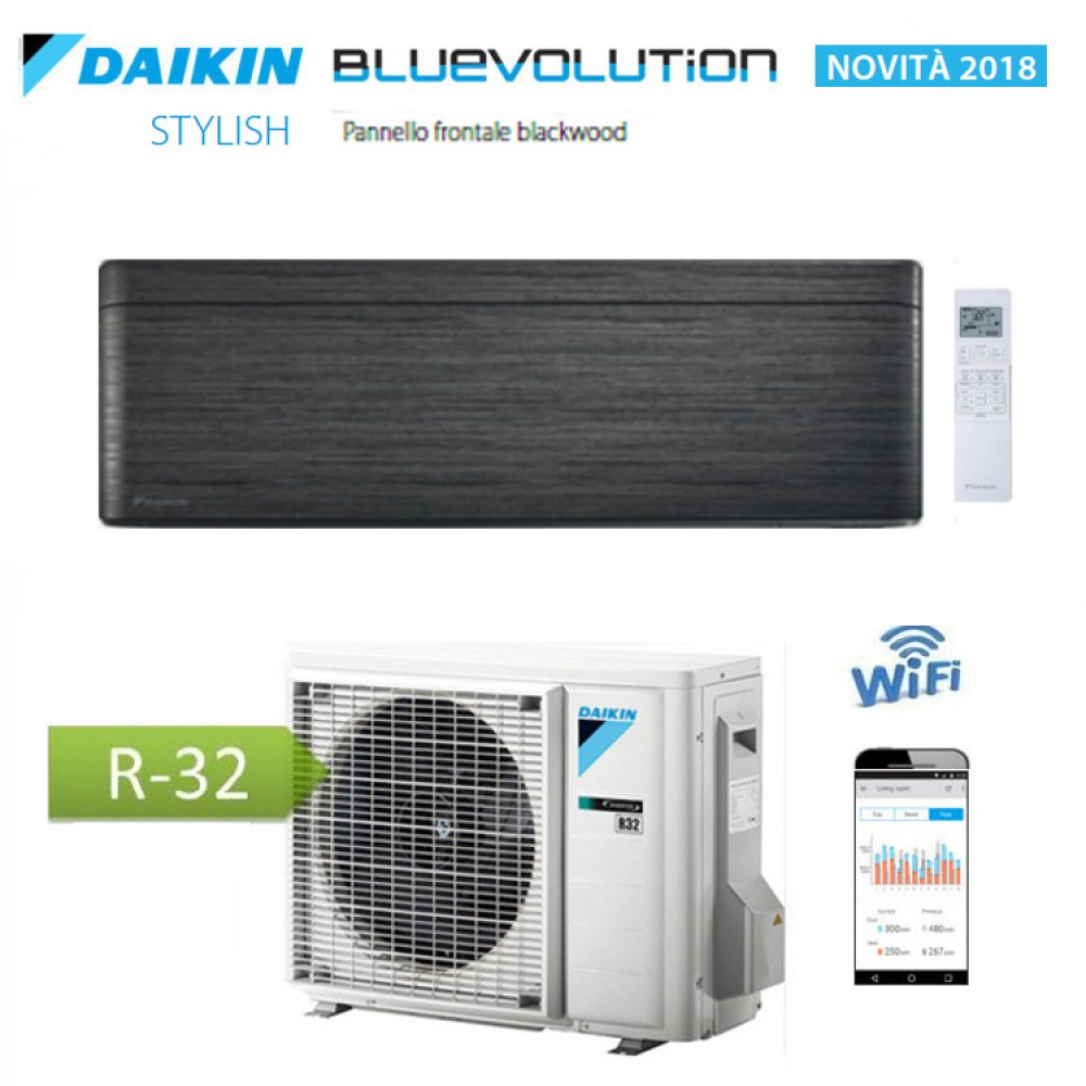 CLIMATIZZATORE CONDIZIONATORE DAIKIN Bluevolution INVERTER STYLISH BLACKWOOD 15000 btu Wi-Fi A++ R-32 FTXA42AT