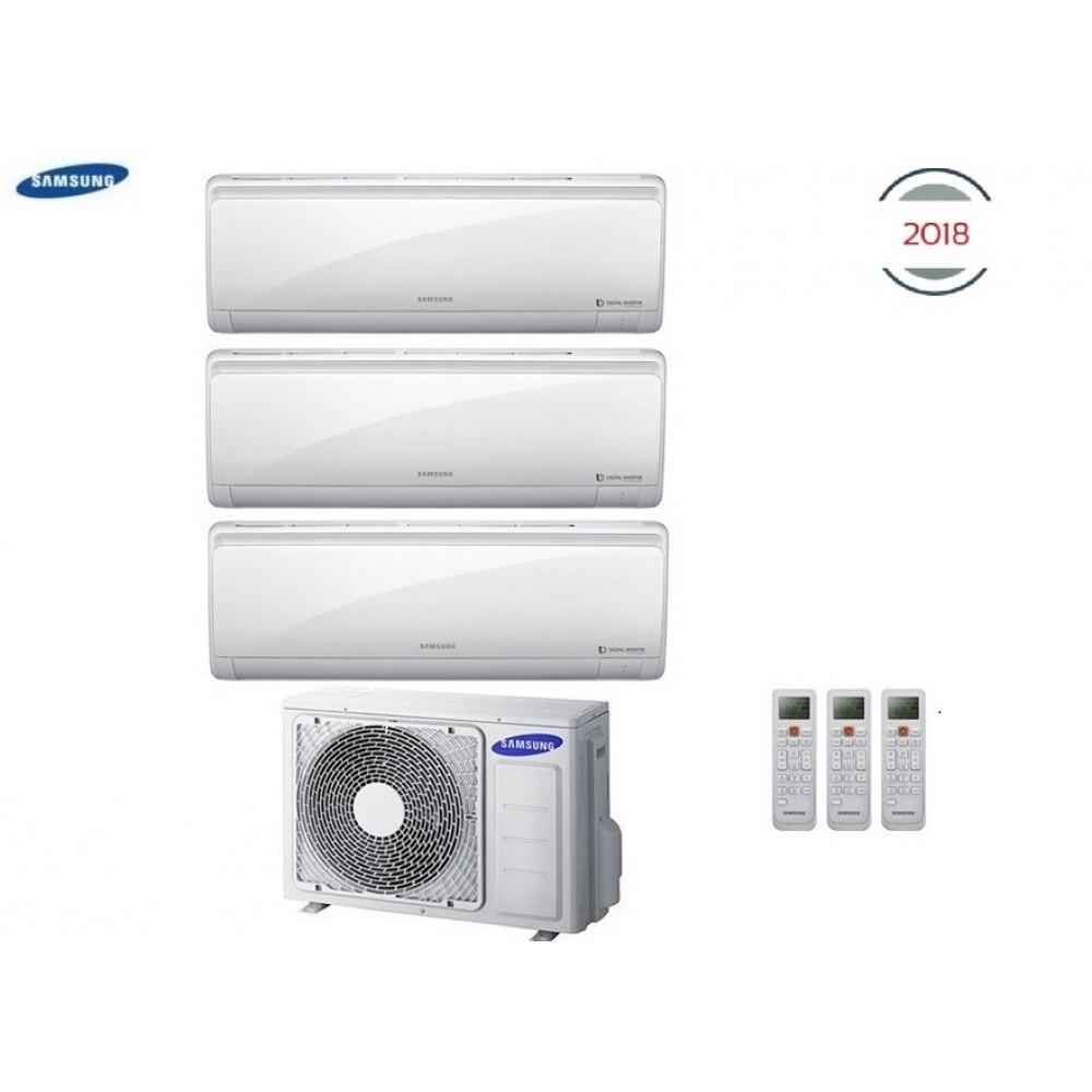 Climatizzatore Condizionatore Samsung Inverter Trial Split Maldives Quantum 9000+9000+12000 con AJ052MCJ - NEW 2018 9+9+12 A++/A+
