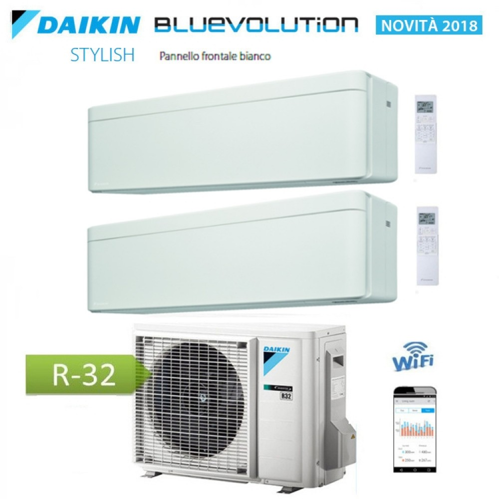 CLIMATIZZATORE CONDIZIONATORE DAIKIN Bluevolution DUAL SPLIT INVERTER Stylish White bianco R-32 Wi-Fi 7000+12000 con 2MXM50M/M9