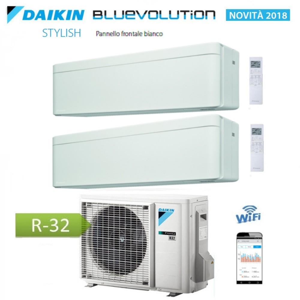 CLIMATIZZATORE CONDIZIONATORE DAIKIN Bluevolution DUAL SPLIT INVERTER Stylish White bianco R-32 Wi-Fi 9000+18000 con 2MXM50M/M9
