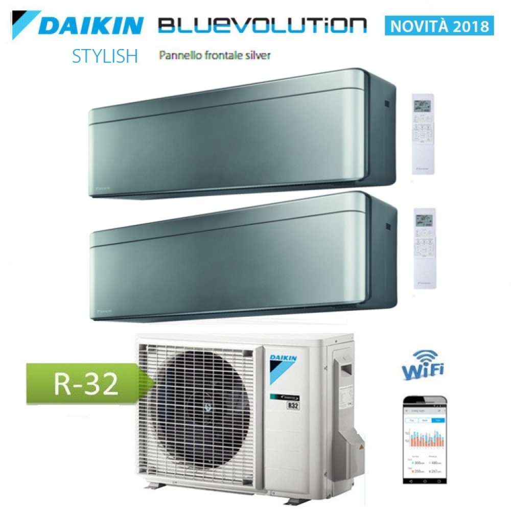 CLIMATIZZATORE CONDIZIONATORE DAIKIN Bluevolution DUAL SPLIT INVERTER Stylish Silver R-32 Wi-Fi 7000+7000 con 2MXM40M