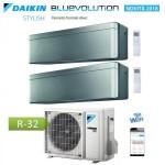 CLIMATIZZATORE CONDIZIONATORE DAIKIN Bluevolution DUAL SPLIT INVERTER Stylish Silver R-32 Wi-Fi 7000+12000 con 2MXM40M