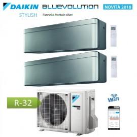 CLIMATIZZATORE CONDIZIONATORE DAIKIN Bluevolution DUAL SPLIT INVERTER Stylish Silver R-32 Wi-Fi 7000+12000 con 2MXM50M/M9
