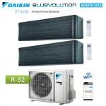CLIMATIZZATORE CONDIZIONATORE DAIKIN Bluevolution DUAL SPLIT INVERTER Stylish Blackwood R-32 Wi-Fi 7000+9000 con 2MXM40M