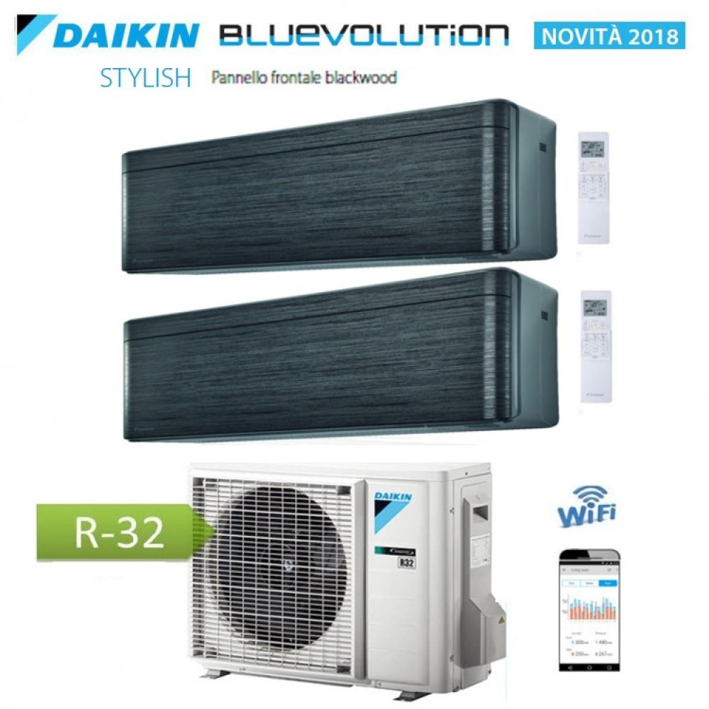 CLIMATIZZATORE CONDIZIONATORE DAIKIN Bluevolution DUAL SPLIT INVERTER Stylish Blackwood R-32 Wi-Fi 7000+12000 con 2MXM40M