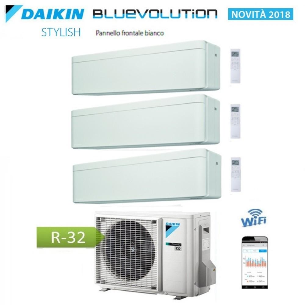 CLIMATIZZATORE CONDIZIONATORE DAIKIN Bluevolution TRIAL SPLIT INVERTER Stylish White bianco R-32 Wi-Fi 9+9+18 con 3MXM68N