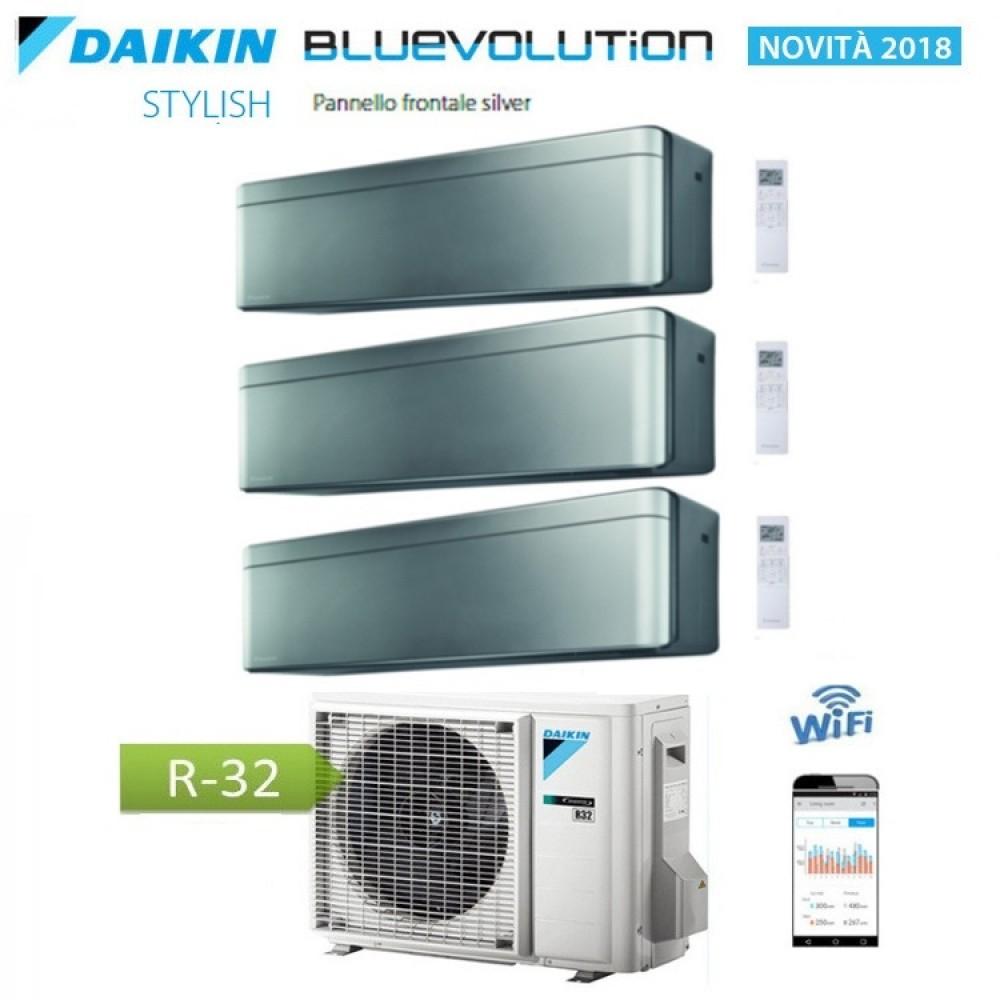 CLIMATIZZATORE CONDIZIONATORE DAIKIN Bluevolution TRIAL SPLIT INVERTER Stylish Silver R-32 Wi-Fi 12+12+12 con 3MXM68N
