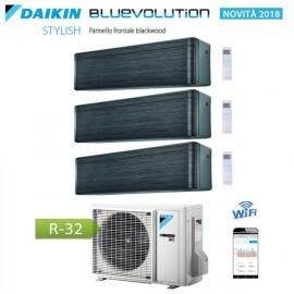 CLIMATIZZATORE CONDIZIONATORE DAIKIN Bluevolution TRIAL SPLIT INVERTER Stylish Blackwood R-32 Wi-Fi 9+12+12 con 3MXM68N