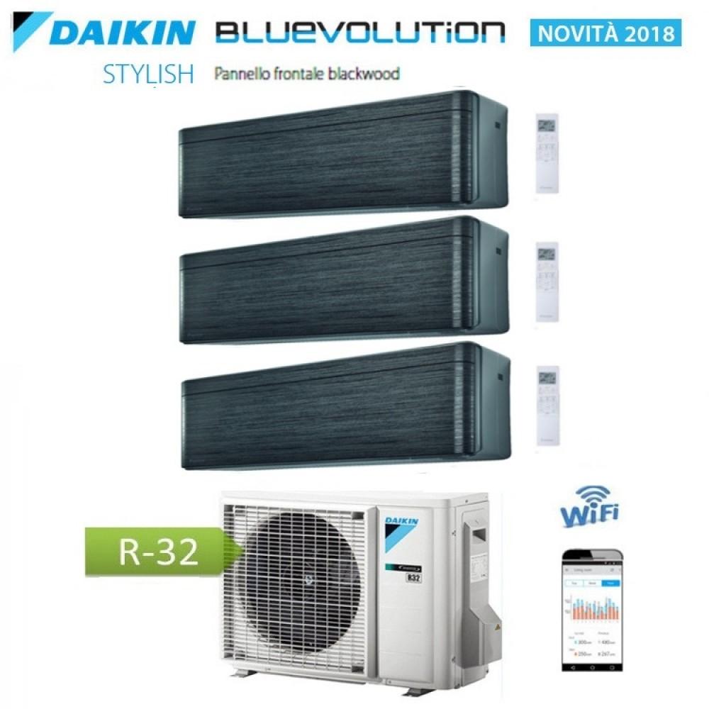 CLIMATIZZATORE CONDIZIONATORE DAIKIN Bluevolution TRIAL SPLIT INVERTER Stylish Blackwood R-32 Wi-Fi 12+12+12 con 3MXM68N