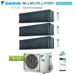 CLIMATIZZATORE CONDIZIONATORE DAIKIN Bluevolution TRIAL SPLIT INVERTER Stylish Blackwood R-32 Wi-Fi 9+9+18 con 3MXM68N