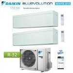CLIMATIZZATORE CONDIZIONATORE DAIKIN Bluevolution DUAL SPLIT INVERTER Stylish White bianco R-32 Wi-Fi 7000+15000 con 2MXM50M/M9 7+15