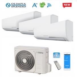 Climatizzatore Condizionatore Trial Split Olimpia Splendid NEXYA S4 E INVERTER 9+12+12 con OS-CEMEH26EI Wi-Fi Ready R32 NEW