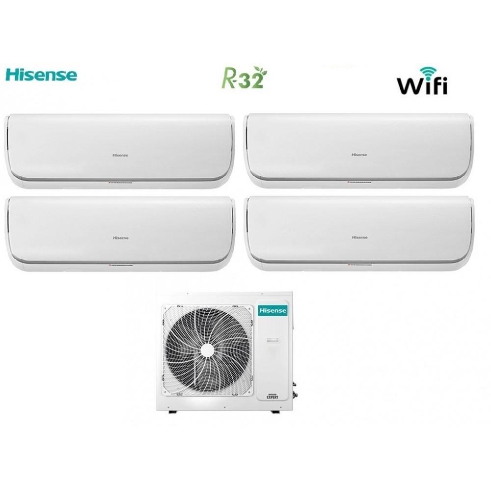 Climatizzatore Condizionatore Hisense Quadri Split Inverter Silentium R-32 9+9+9+12 con 4AMW81U4RAA Wi-Fi 9000+9000+9000+12000