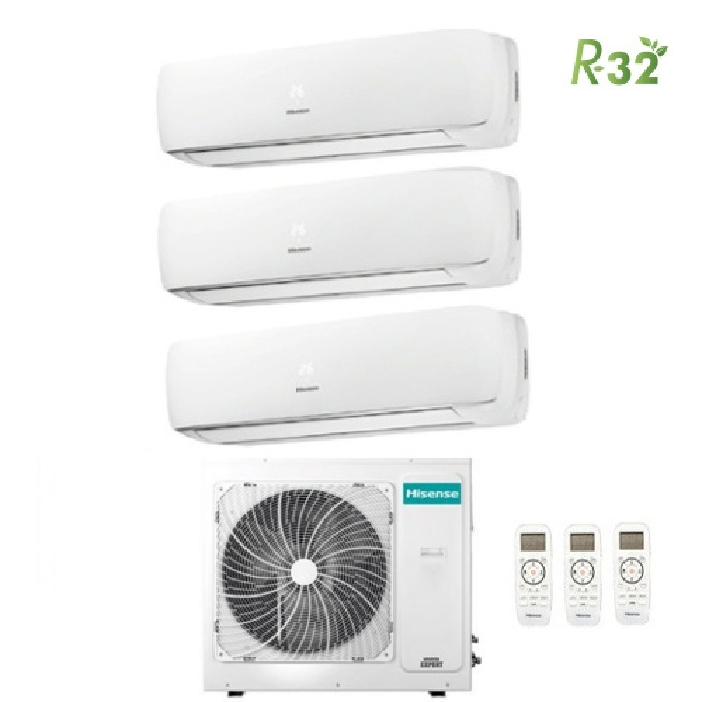 Climatizzatore Condizionatore Hisense Trial Split Inverter Mini Apple Pie R-32 9000+9000+9000 con 3AMW70U4RAA A++ Wi-Fi Optional NEW