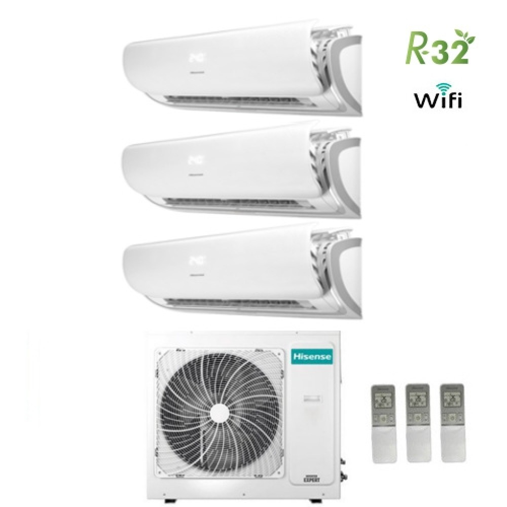 Climatizzatore Condizionatore Hisense Trial Split Inverter Silentium R-32 9000+9000+9000 con 3AMW70U4RAA A++ Wi-Fi NEW