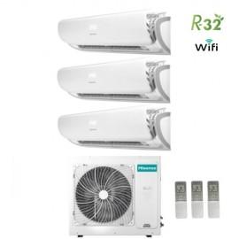 Climatizzatore Condizionatore Hisense Trial Split Inverter Silentium R-32 9000+12000+12000 con 3AMW70U4RAA A++ Wi-Fi NEW