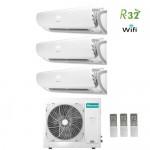 Climatizzatore Condizionatore Hisense Trial Split Inverter Silentium R-32 12000+12000+12000 con 3AMW70U4RAA A++ Wi-Fi NEW