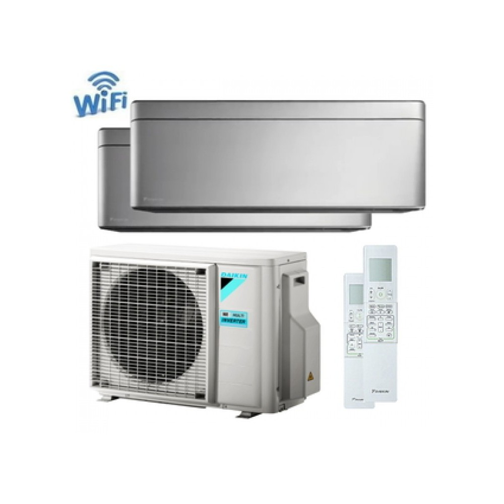 CLIMATIZZATORE CONDIZIONATORE DAIKIN Bluevolution DUAL SPLIT INVERTER Stylish Silver R-32 Wi-Fi 12000+12000 con 2MXM50M/M9