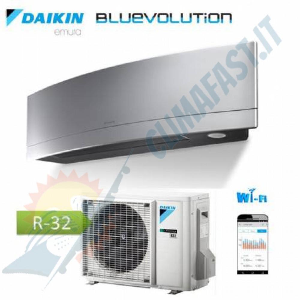 Daikin CLIMATIZZATORE CONDIZIONATORE DAIKIN INVERTER EMURA bluevolution Silver WI-FI FTXJ25MS A+++ 9000 btu R-32